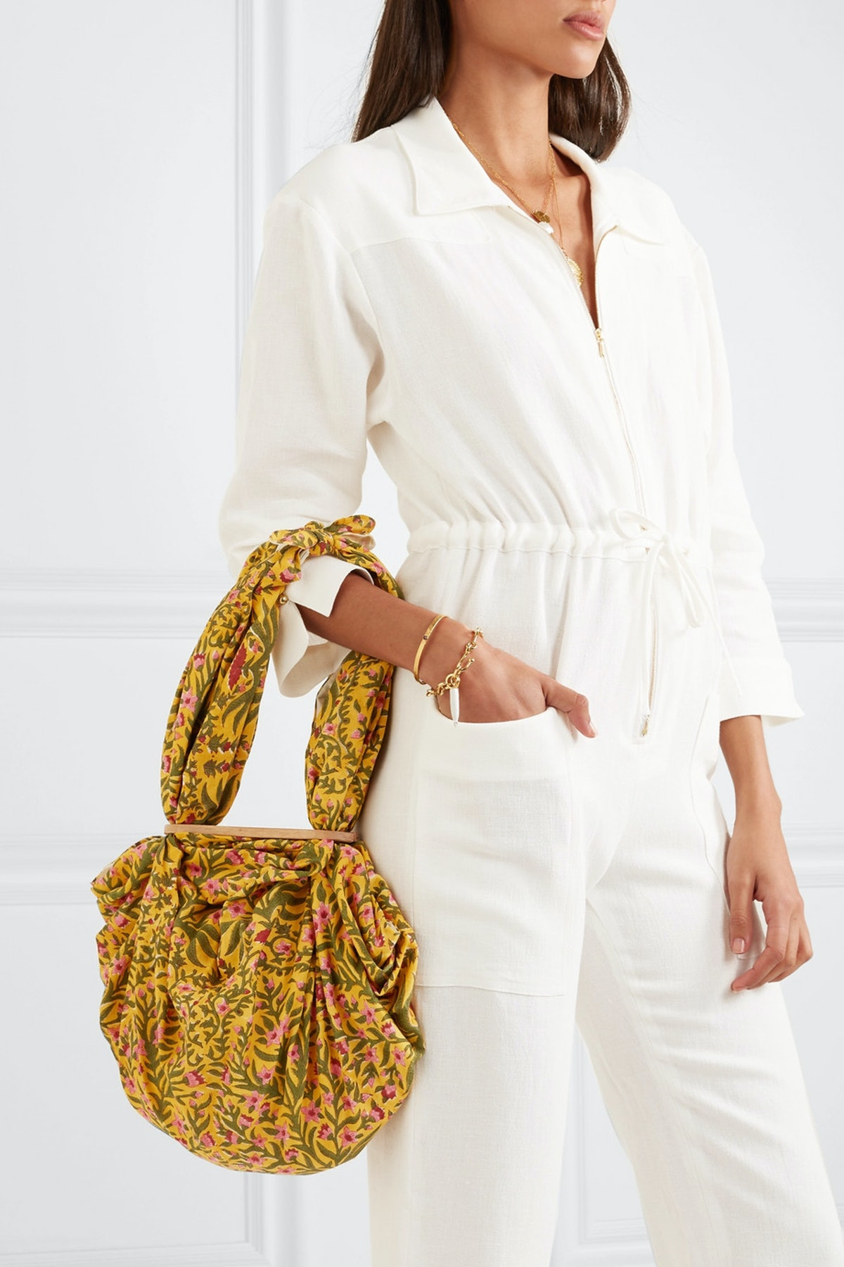 Tokyo Knotted Floral Print Cotton Voile Tote