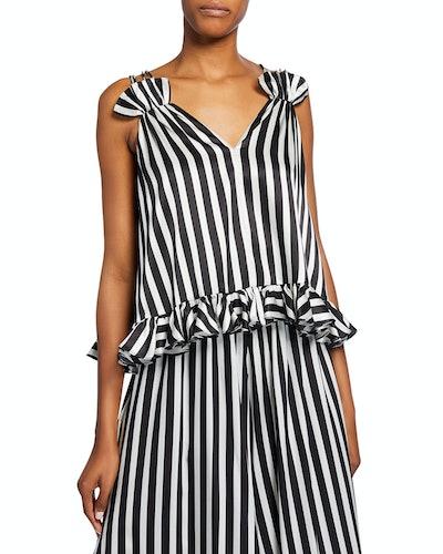 Mara Striped Sleeveless Ruffle Top
