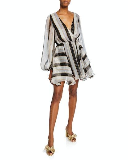 Oleon Striped Metallic Short Dress