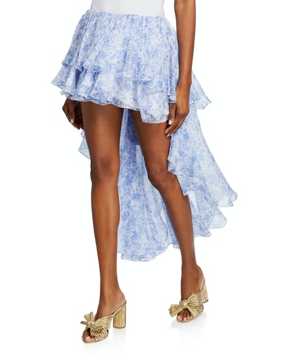 Guilia Tiered High-Low Ruffle Skirt