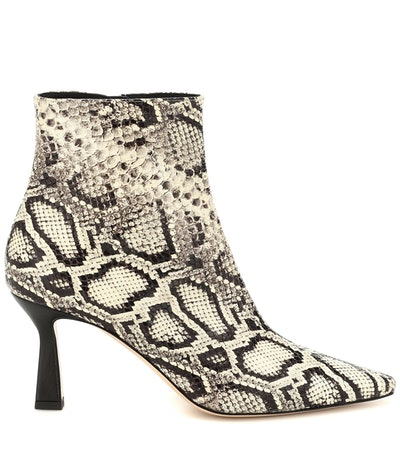 Lina Snake-Effect Leather Ankle Boot