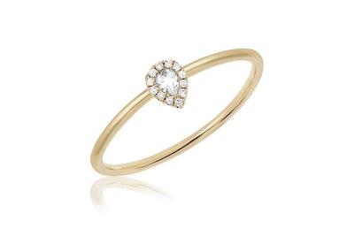 Diamond White Topaz Teardrop Stack Ring