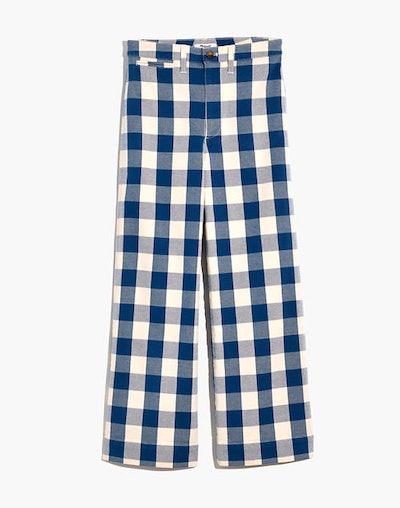 Emmett Wide-Leg Crop Pants In Gingham Check
