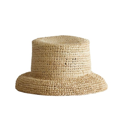 Natural Crocheted Raffia Bucket Hat — Manon