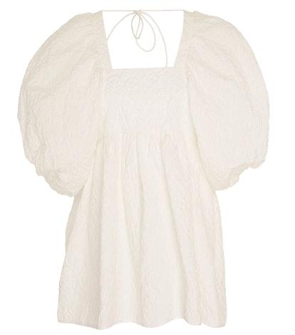 Rita Puff-Sleeve Cotton-Blend Matelassé Top