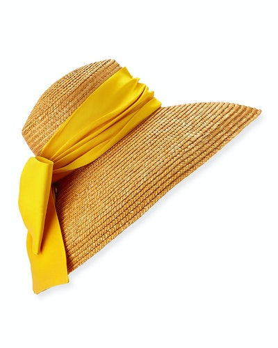 Mirabel Textured Straw Sun Hat w/ Satin Bow