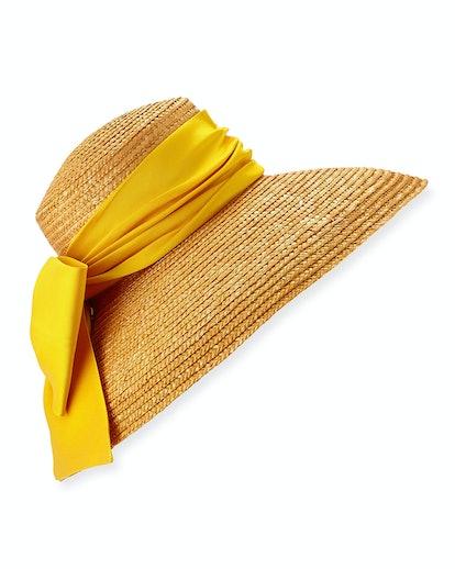 Mirabel Textured Straw Sun Hat w/ Satin Bow