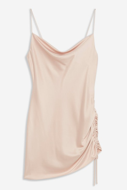 Ruched Mini Slip Dress