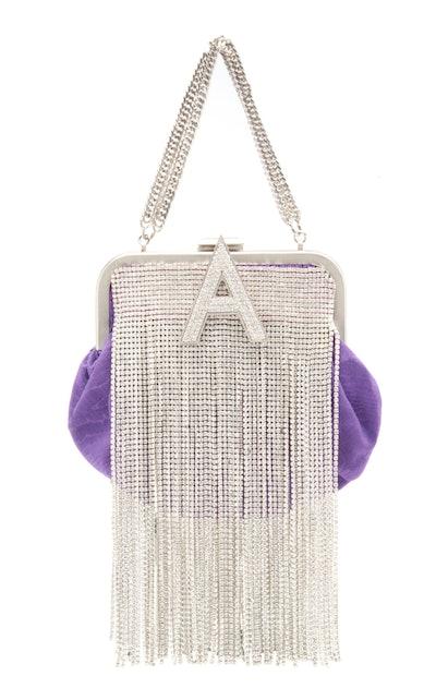 Crystal-Embellished Mini Moiré Bag