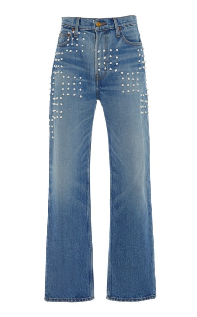 Arts Embroidered Mid-Rise Straight-Leg Jeans