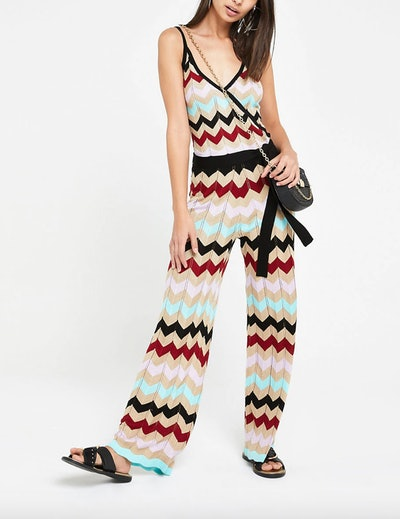 Gold Multi Chevron Stripe Knitted Jumpsuit