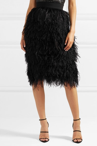 Feather and Silk-Organza Skirt