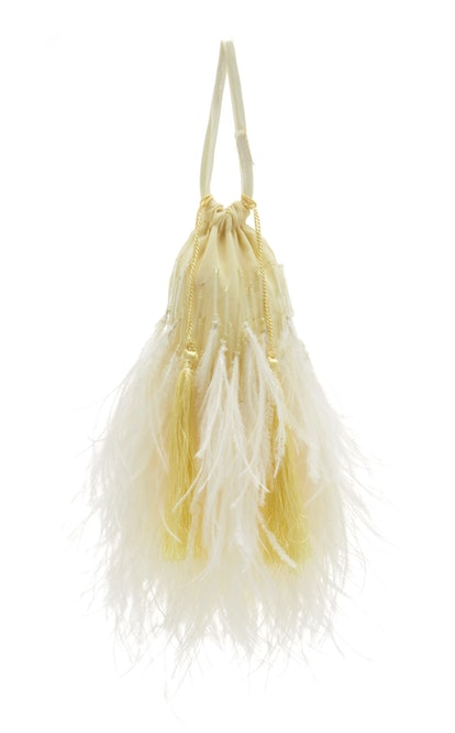 Tasseled Feather-Trimmed Beaded Cotton Pouch