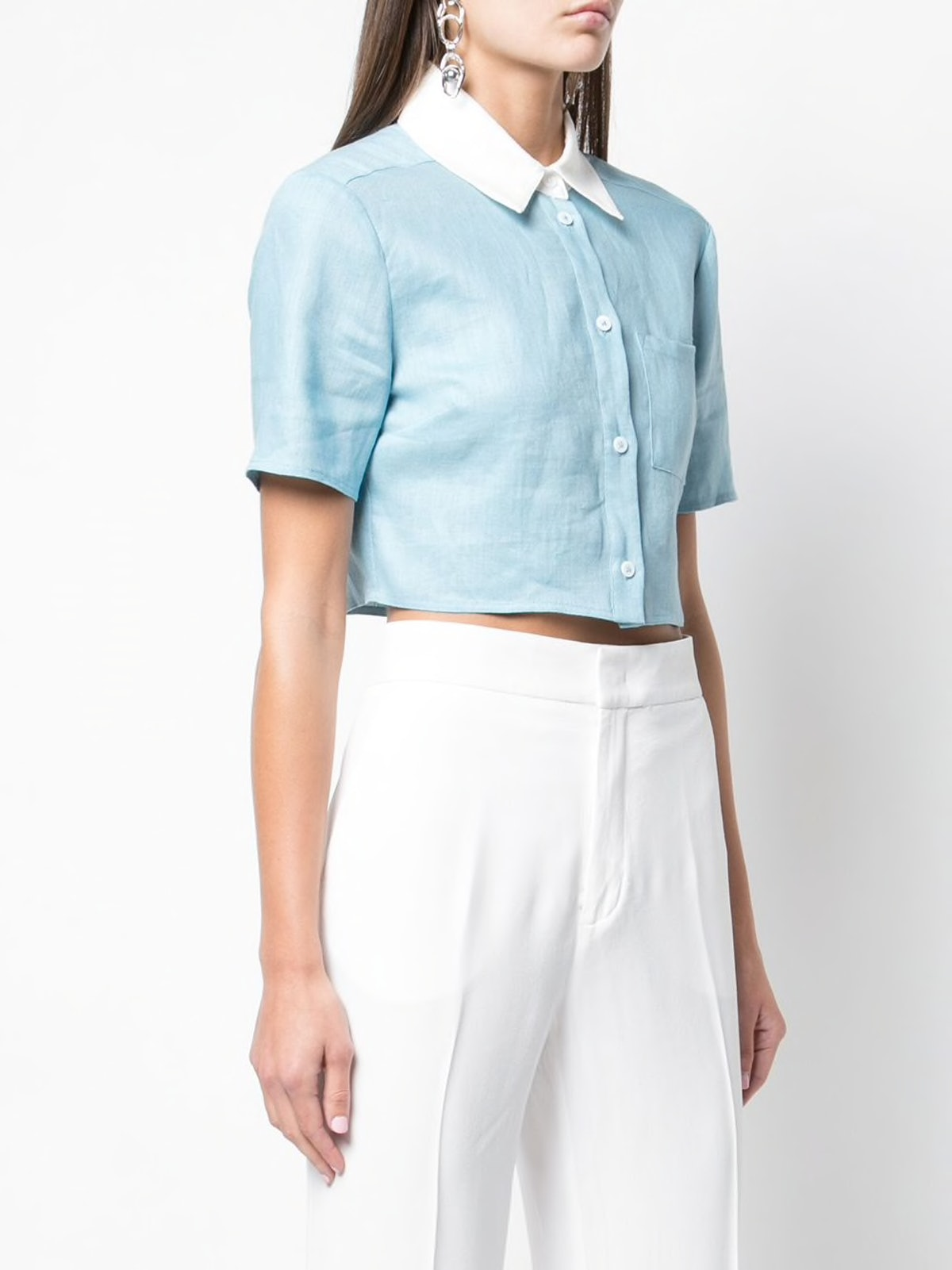 Cropped Button-up Shirt