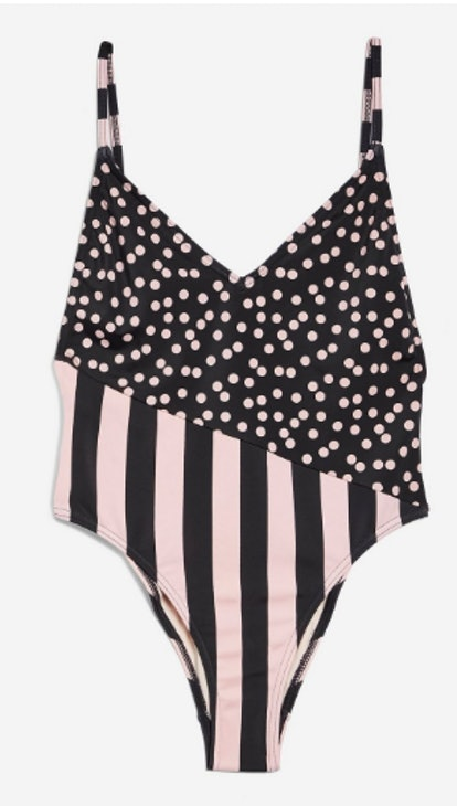 Spot And Stripe Print Swimsuit