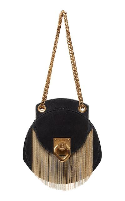 Small Metal-Fringed Suede Shoulder Bag