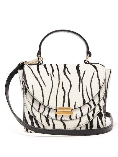 Luna Mini Zebra-Print Calf-Hair Cross-Body Bag