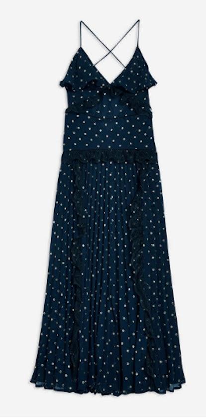 Lace Metallic Thread Pleat Maxi Dress