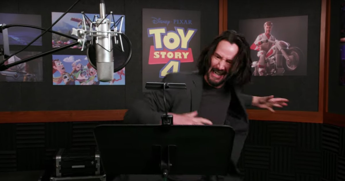 This Video Of Keanu Reeves Recording His 'Toy Story 4' Dialogue Is The Definition Of Pure