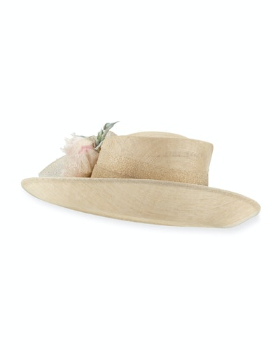 Deep Upturn Derby Hat w/ Flower Detail