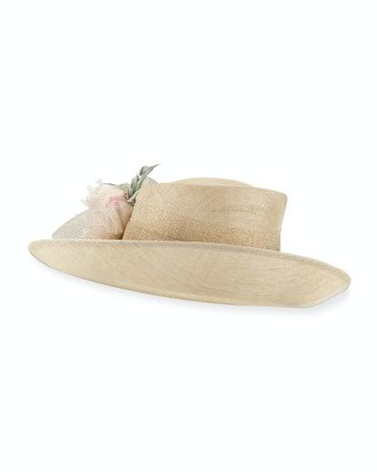Deep Upturn Derby Hat w/ Flower Detail