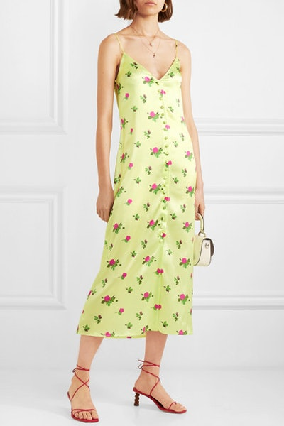 Hailey Floral-Print Stretch-Silk Satin Midi Dress