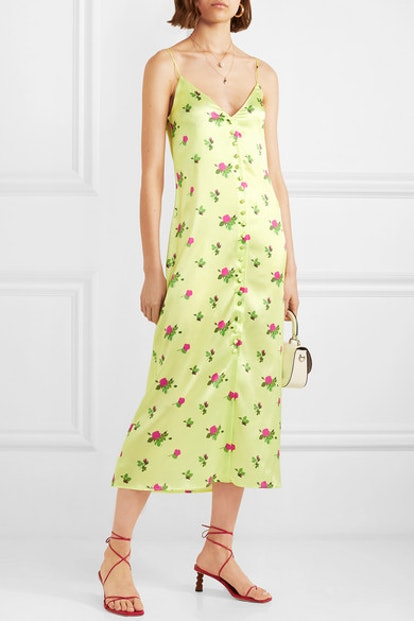 Hailey Floral-Print Stretch-Silk Satin Midi Dress