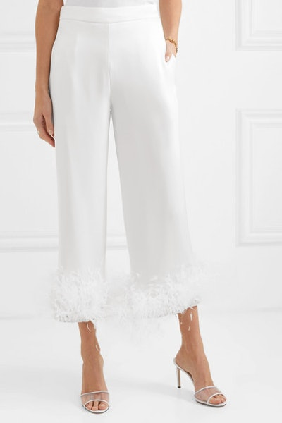 Cropped Feather and Crystal-Trimmed Silk-Satin Straight-Leg Pants