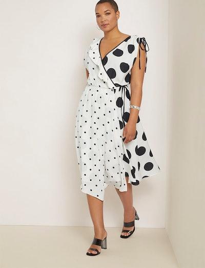 Mixed Print Wrap Dress