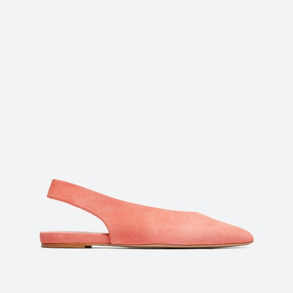 The V Slingback in Coral Suede