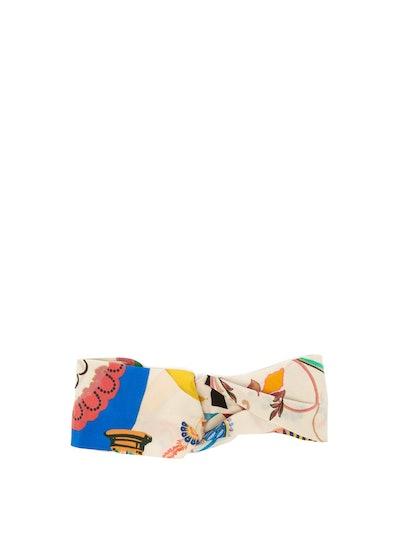 Floral-Print Silk Headband