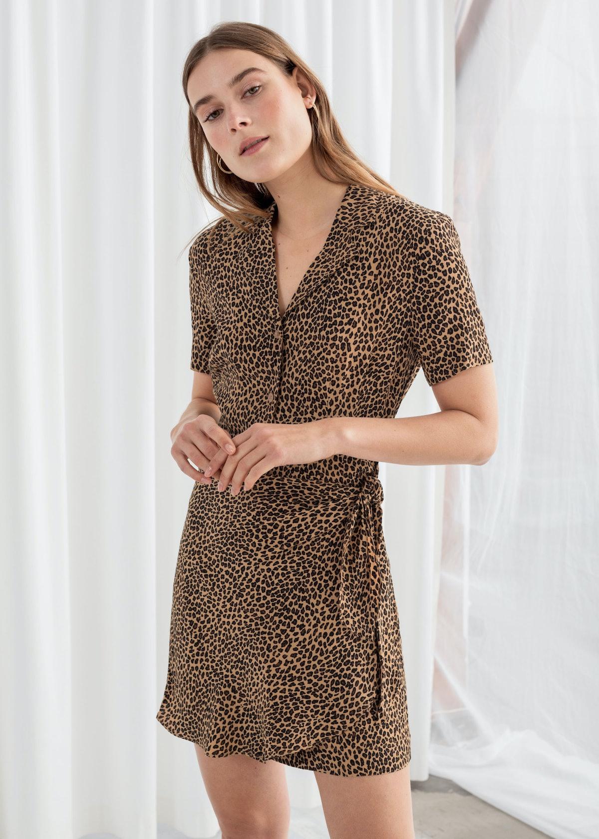 Side Tie Leopard Mini Dress