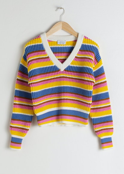 Cropped Striped Cotton Blend Sweater