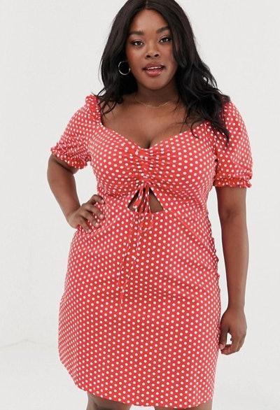 Glamorous Polka Dot Puff Sleeve Dress