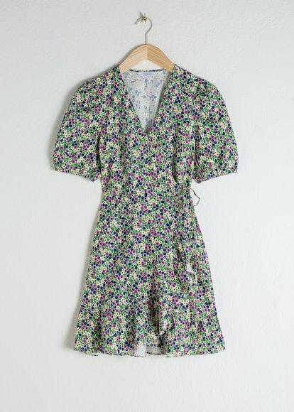 Puff Sleeve Linen Wrap Mini Dress