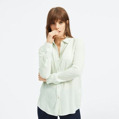 The Clean Silk Relaxed Shirt in Mint