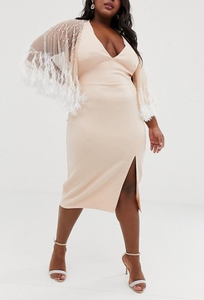 Faux Feather Cape Midi Pencil Dress