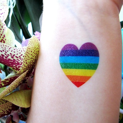 Rainbow Heart (Temporary) Tattoo