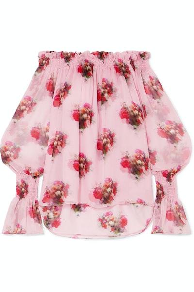 Off-the-Shoulder Floral Print Silk Chiffon Blouse