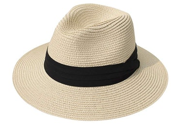 Lanzom Women Wide Brim Straw Panama Roll up Hat