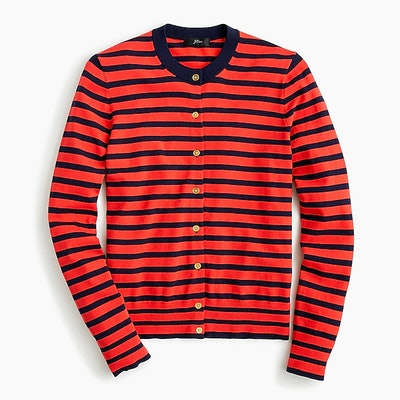 Striped Cotton Jackie Cardigan Sweater