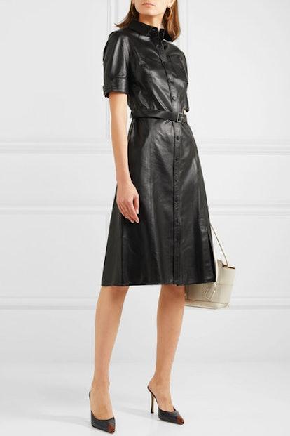 Kiernan Belted Leather Dress