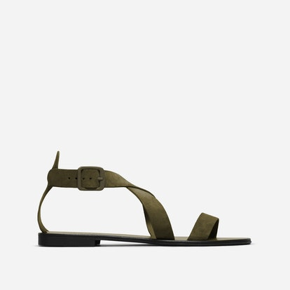 The Modern Wrap Sandal in Dark Green Suede