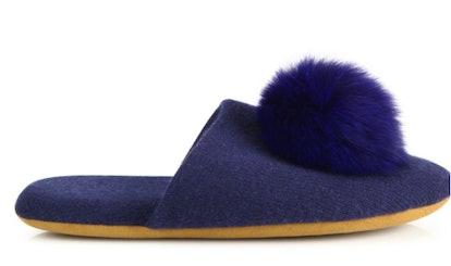 Cashmere and Fox Fur PomPom Slides