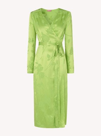 Effie Lime Jacquard Wrap Dress