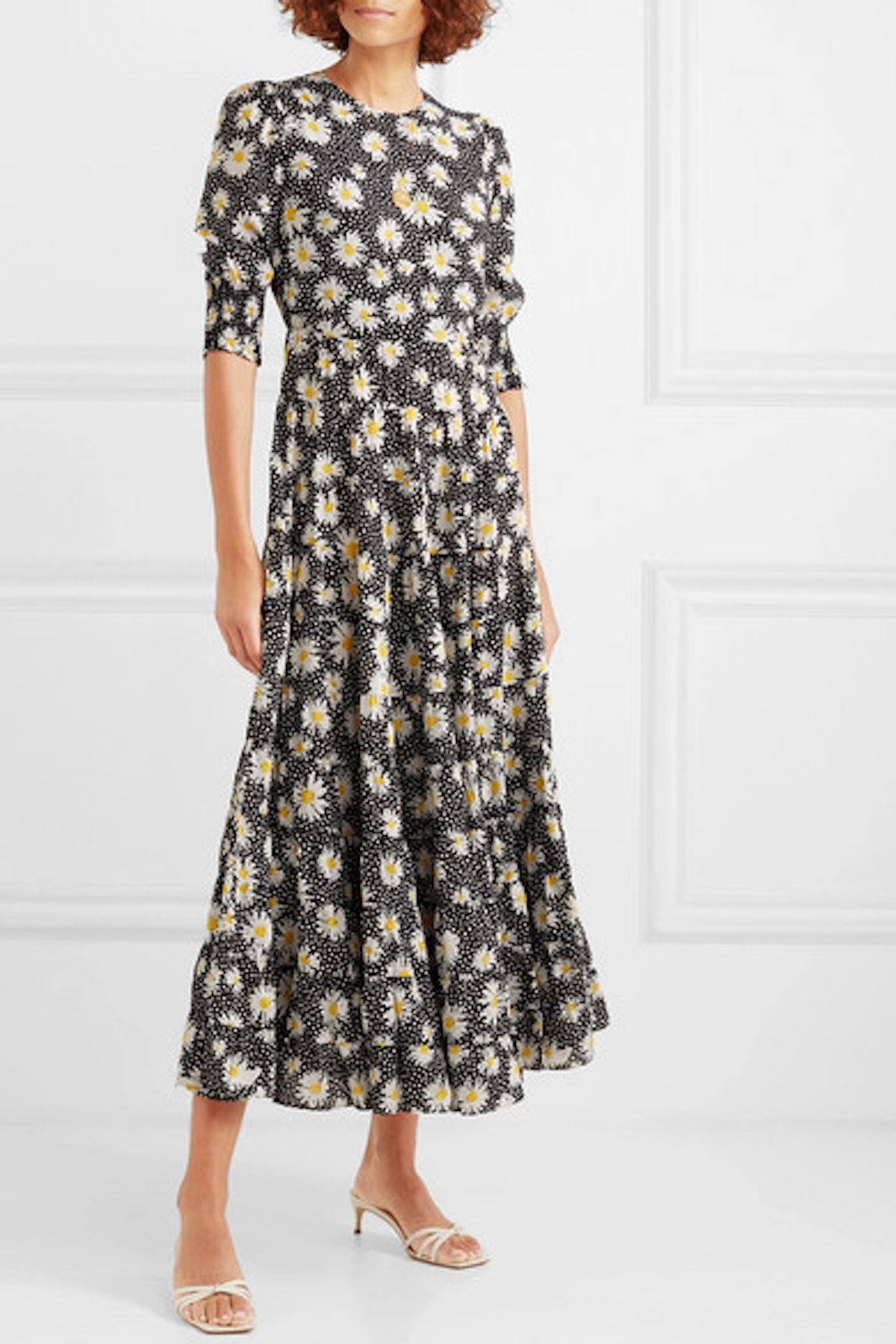 Kristen Tiered Floral-Print Cotton And Silk-Blend Dress