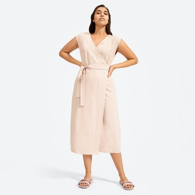The Japanese GoWeave Short-Sleeve Wrap Dress in Rose