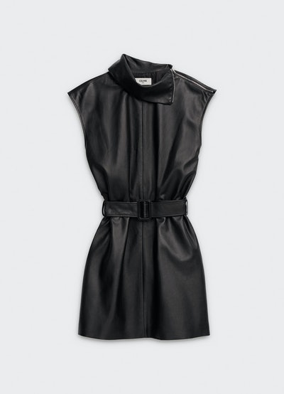 Sleeveless Dress in Lambskin With Turn-Up Collar