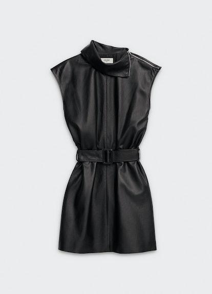 Sleeveless Dress in Lambskin With Turn-Up Collar