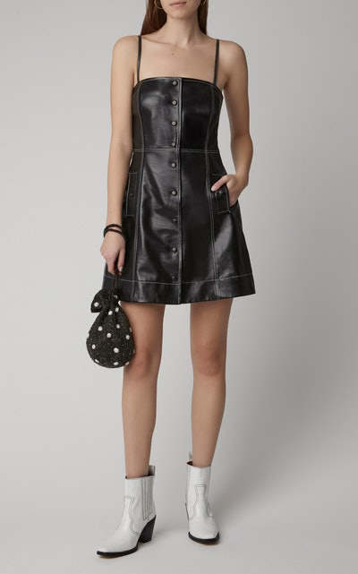 Top-Stitched Leather Mini Dress